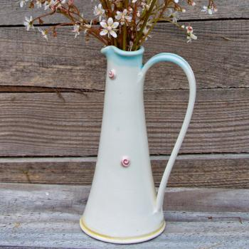 Small Jug with pink spiral rose buds