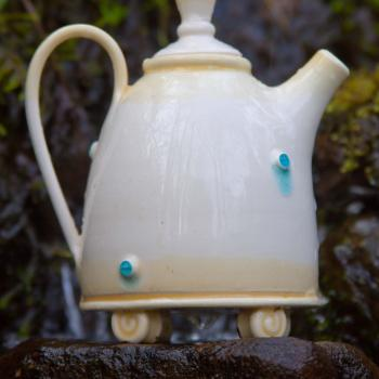 Hand thrown tiny teapot